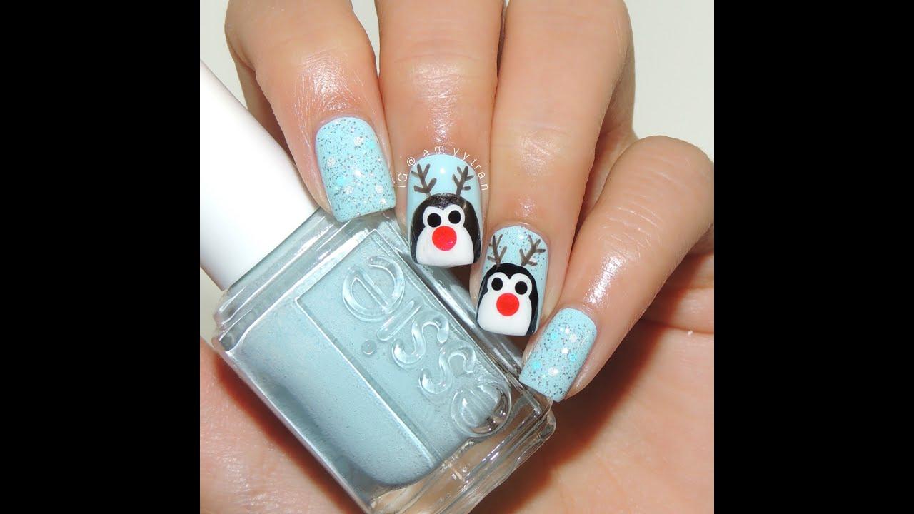 reindeer penguin nail art amyytran