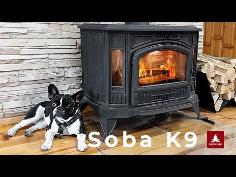 Soba pe lemne K9, model deosebit din fonta tip godin rustic si vechi, cu 2 sticle aditionale!