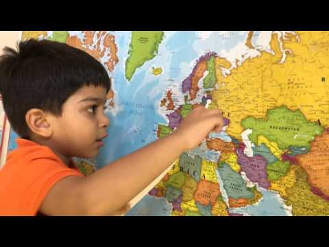 Amazing 3 year old kid names all countries on world map