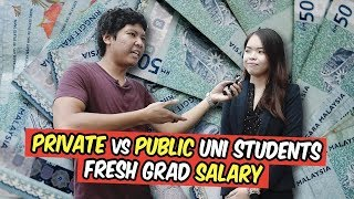 What salary do private and public uni students expect as fresh grads in Malaysia?