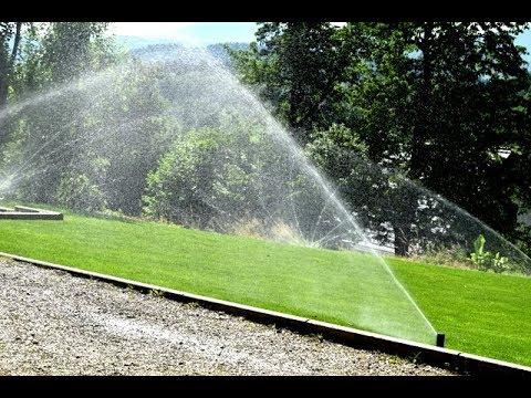 Lawn Field Rain Bird Sprinkler System