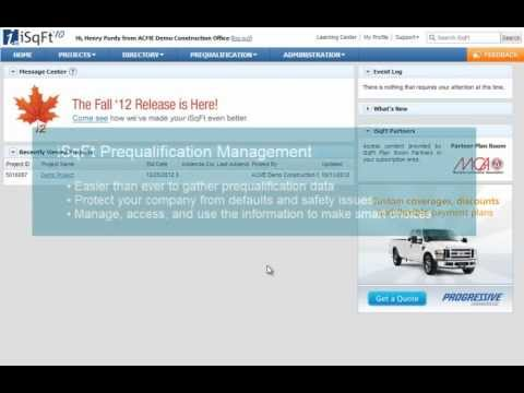 Isqft Prequalification Management Form Review And Approval Youtube