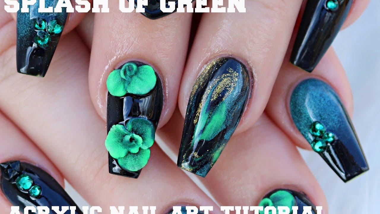 Splash Of Green Acrylic Nail Tutorial Glam And Glits Glowing Colors