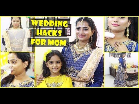 6 LIFE Saving WEDDING HACKS For Moms #शादी Must Try - Lehenga Draping, Makeup, DIY thumbnail