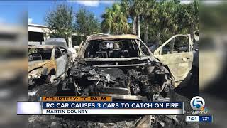 3 cars burn in Martin County