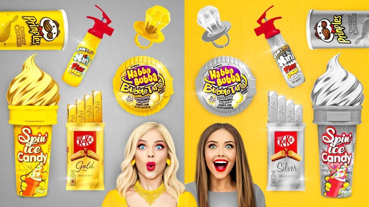 Tantangan Makanan Emas VS Perak! | Makan Seharian Lucu Makanan Warna EMAS dan PERAK oleh RATATA