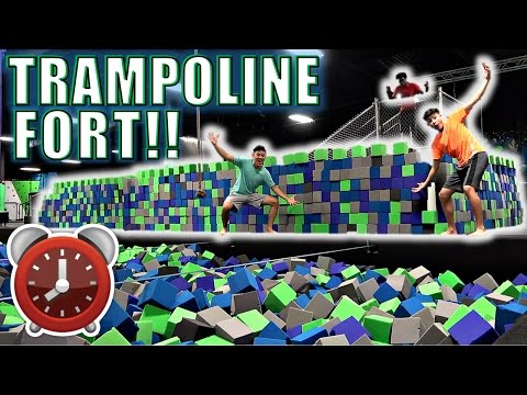 24 HOUR OVERNIGHT CHALLENGE IN TRAMPOLINE PARK!!(*EPIC FOAM