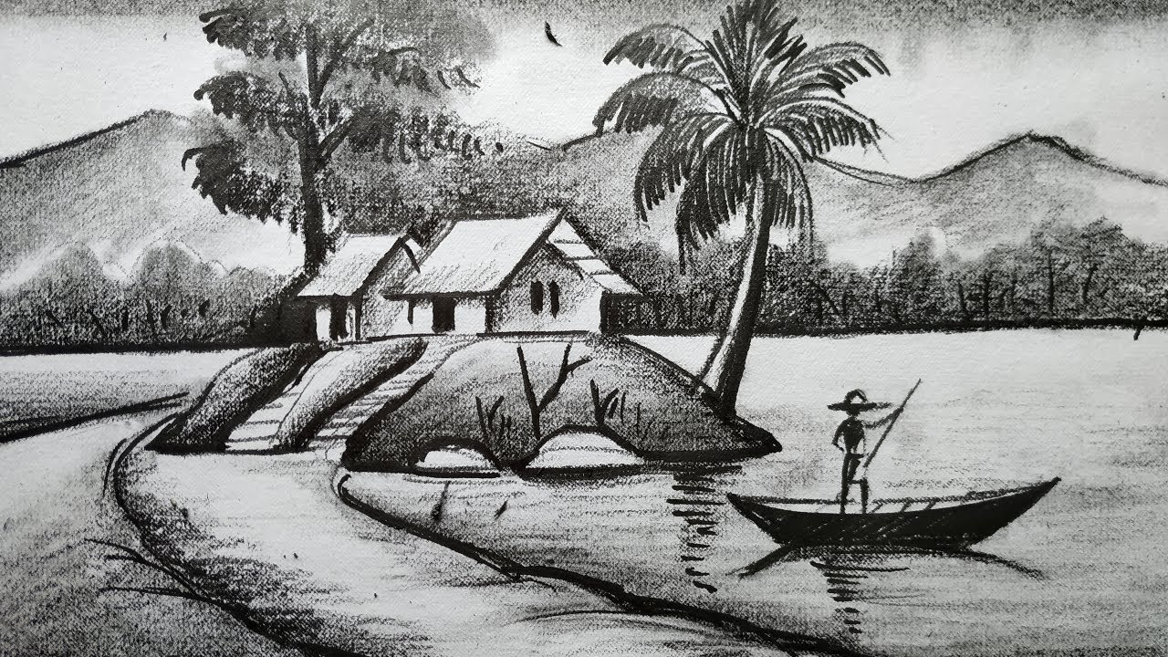 How To Draw Easy Pencil Sketch Scenery Landscape Pahar And River Side Scenery Drawing How To Draw Youtube How to draw scenery of rainy season by pencil sketch step by step. how to draw easy pencil sketch scenery landscape pahar and river side scenery drawing how to draw