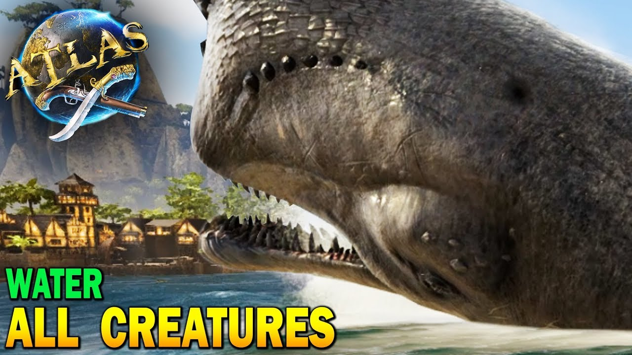 🐳Atlas All Water Creatures!! Boss Whale Destroys Town!! Atlas Early Access  Gameplay