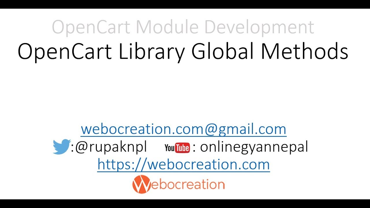 OpenCart 3 Library Global objects Methods – OpenCart video