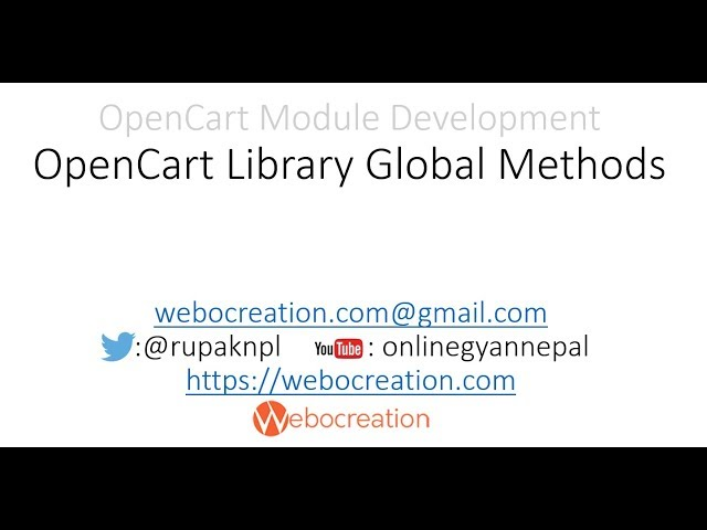 OpenCart Library Predefined Objects' Methods