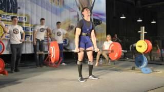 Закаунов Беслан Становая Тяга 190 кг AWPC (18 лет до 67кг)