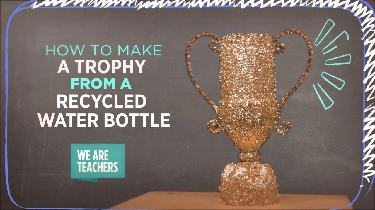 Recycling diy plastic bottle trophy youtube for How to design a trophy