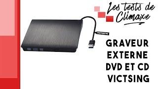 Test d'un graveur externe CD et DVD Victsing de couleur noire avec câble USB 3.0 intégré