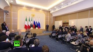 Владимир Путин и премьер министр Италии проводят пресс конференцию по итогам встречи