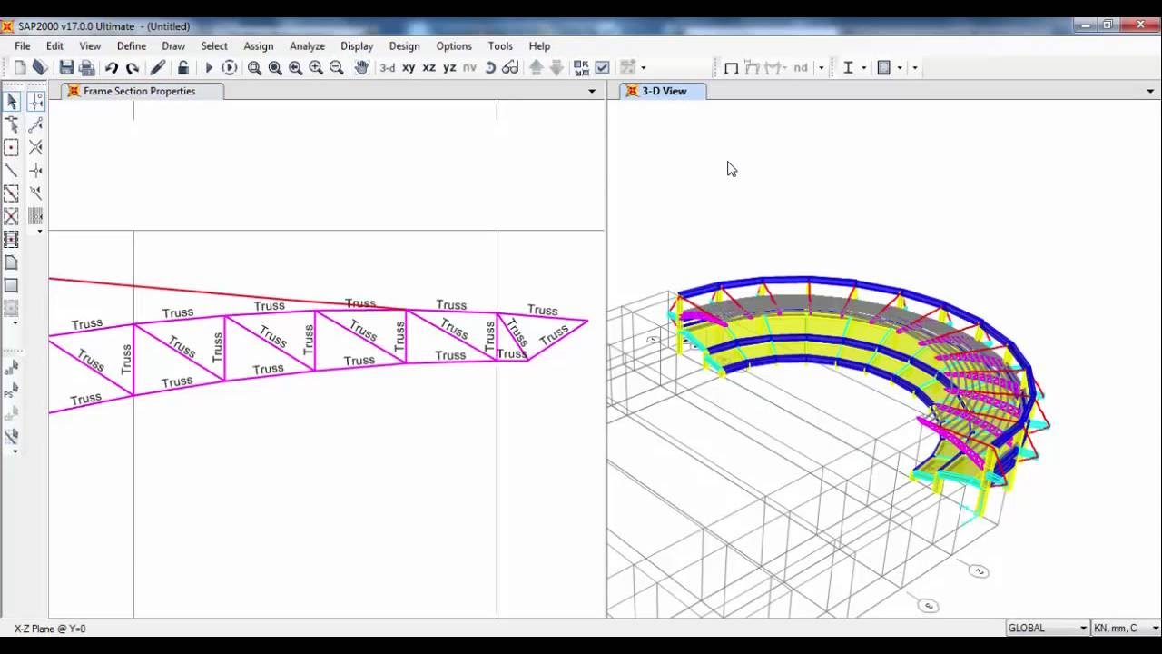 Sap2000 Structural Modeling Of Stadium Structure 02 Youtube