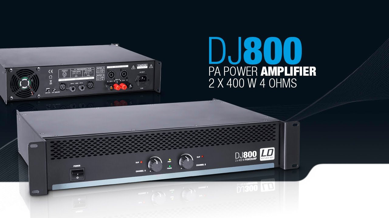 ld systems dj800 pa power amplifier 2 x 400 w 4 ohms youtube. Black Bedroom Furniture Sets. Home Design Ideas