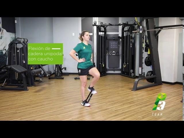 Flexion de cadera unipodal con chaucho