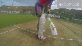 England batsman Ian Bell at the crease - GoPro on middle stump