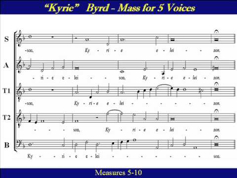 Bass Byrd Kyrie Mass 5 Voices F Score