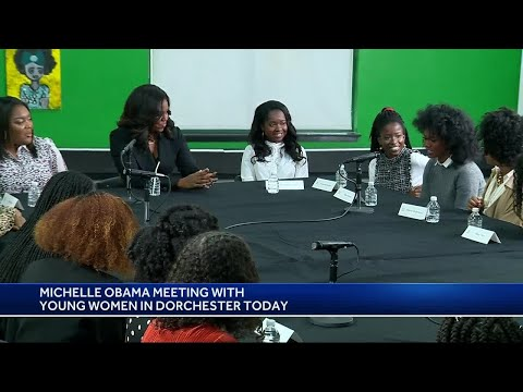 Former first lady Michelle Obama meets with women in Dorchester