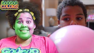 Goo Goo Gaga Turn Mom Face Colors With Balloons! Gaga Baby Plays Hide & Seek!