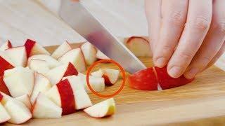 Schneide den Apfel in solche Stücke! Nur so kannst du...