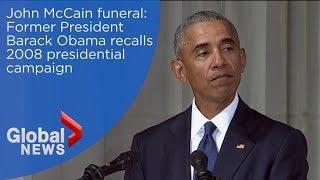 John McCain funeral: Barack Obama recalls senator defending him during 2008 presidential campaign