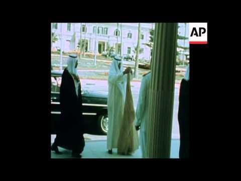 SYND 21 7 75 SADAT WITH KING KHALID BIN ABDUL AZIZ OF SAUDI ARABIA
