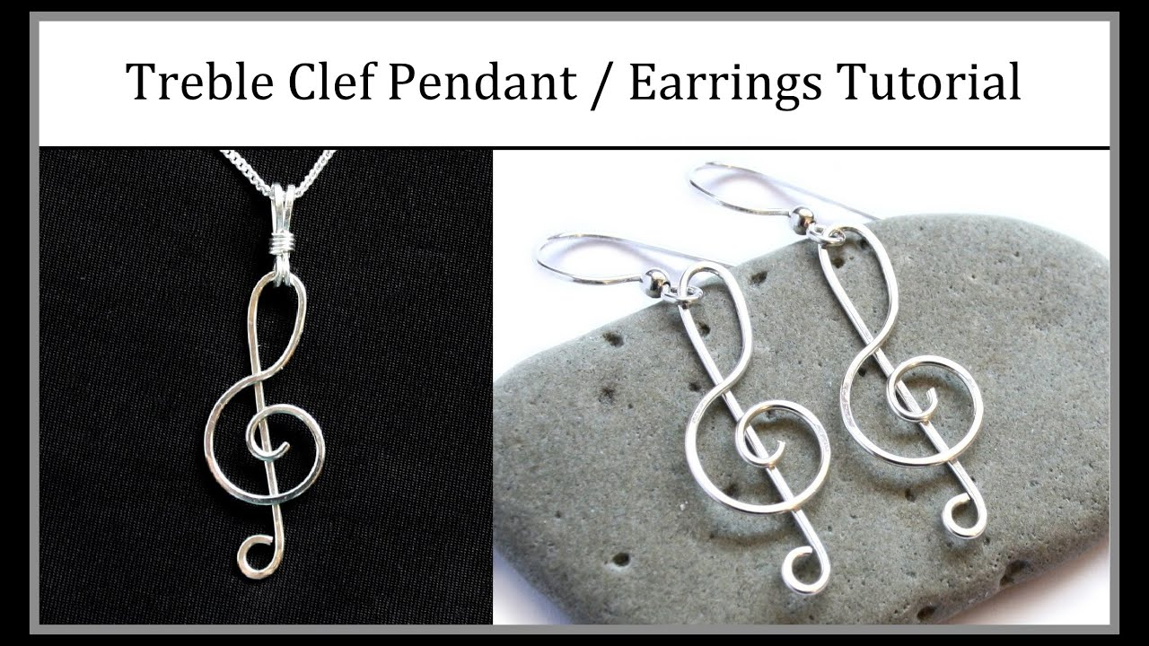 Easy Jewelry Tutorial : Wire Wrapped Treble Clef Pendant or Earrings ...