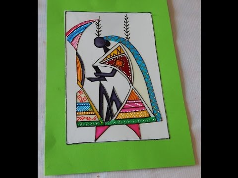 How To Adopt Warli Design In Glass Painting Youtube