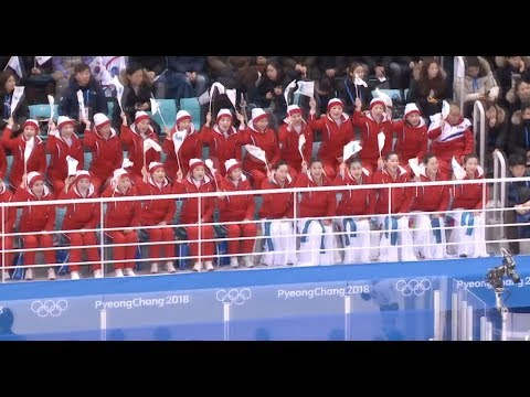 DPRK Cheerleaders Rooted for Unified Women's Ice Hockey Team at Winter Olympics