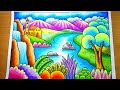 Cara menggambar dan mewarnai Gradasi Pemandangan gunung sungai dan air terjun | drawing scenery