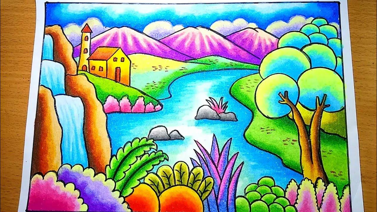 Cara Menggambar Dan Mewarnai Pemandangan Alam Air Terjun
