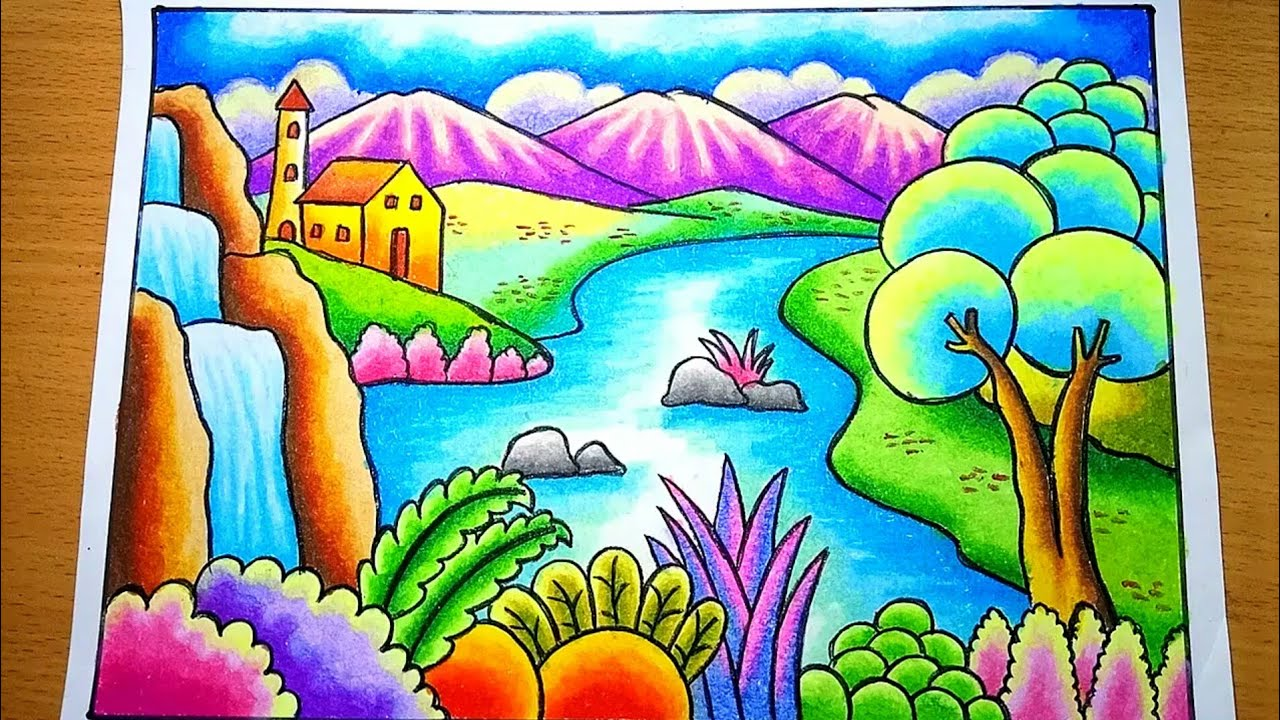 Cara Menggambar Dan Mewarnai Pemandangan Air Terjun Dan