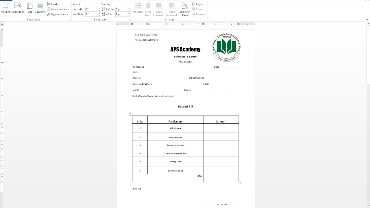 How To Make Receipt Bill IN MS Word  How To Make Invoices In Word