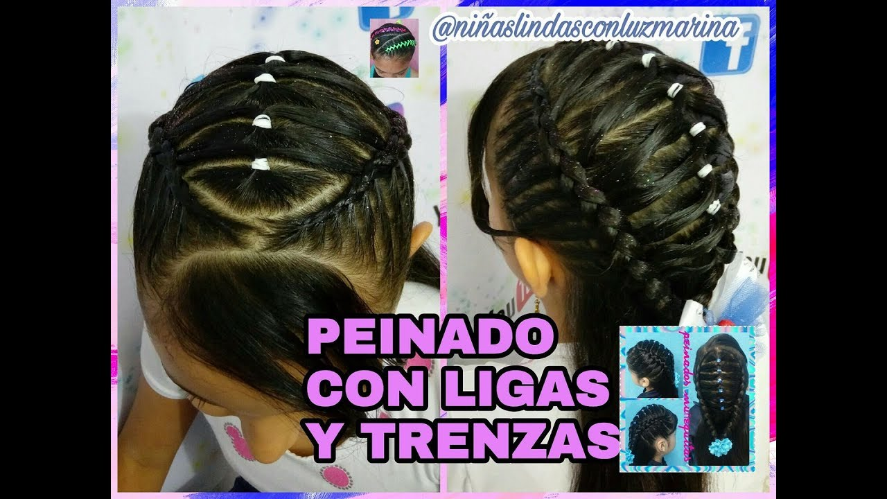Peinado Con Ligas Y Trenzas Facil Paso A Paso Youtube