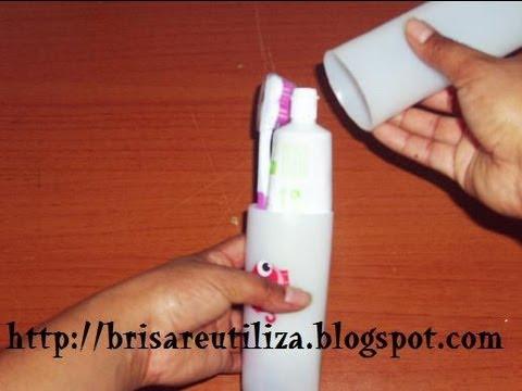 33. diy estuche cepillo-pasta dental (reciclaje de botes de