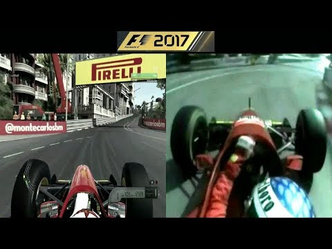 F1 2017 Ferrari 412 T2 1995 vs Real car onboard at Monaco