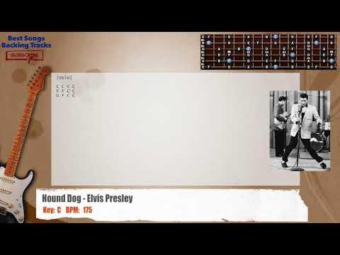 Hound Dog - Elvis Presley Guitar Backing Track with chords and lyrics
