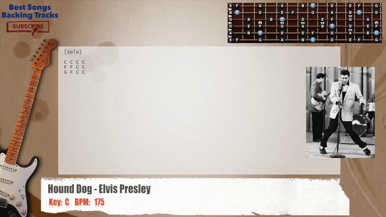 Hound Dog Elvis Presley Guitar Backing Track With Chords And