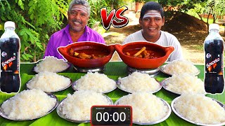10 PLATE WHITE RICE | BLACK MUTTON GRAVY EATING CHALLENGE | FOOD CHALLENGE INDIA | FARMER COOKING