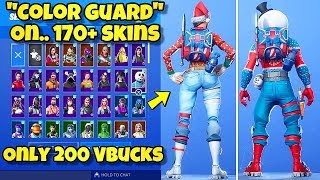 "NOUVEAU ""COLOR GUARD"" BACK BLING Showcased With 170 'SKINS! Fortnite Battle Royale (COLOR GUARD COMBOS)"