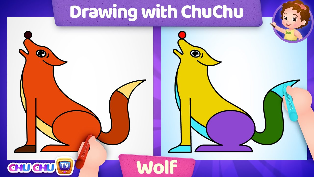 How to Draw a Wolf Step by Step? - Drawing with ChuChu - ChuChu TV Drawing Lessons for Kids