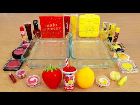 Strawberry Vs Lemon - Mixing Makeup Eyeshadow Into Slime! Special Series 95 Satisfying Slime Video