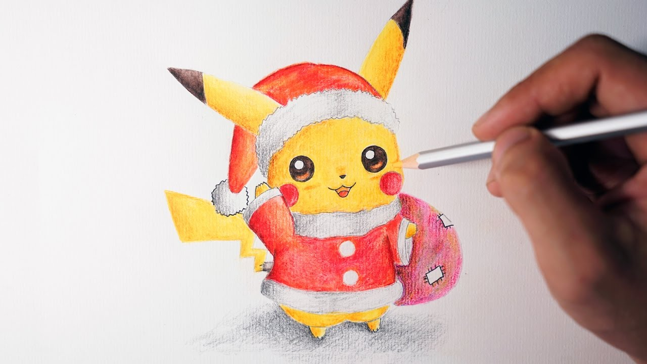 how to draw pikachu merry christmas cute version youtube