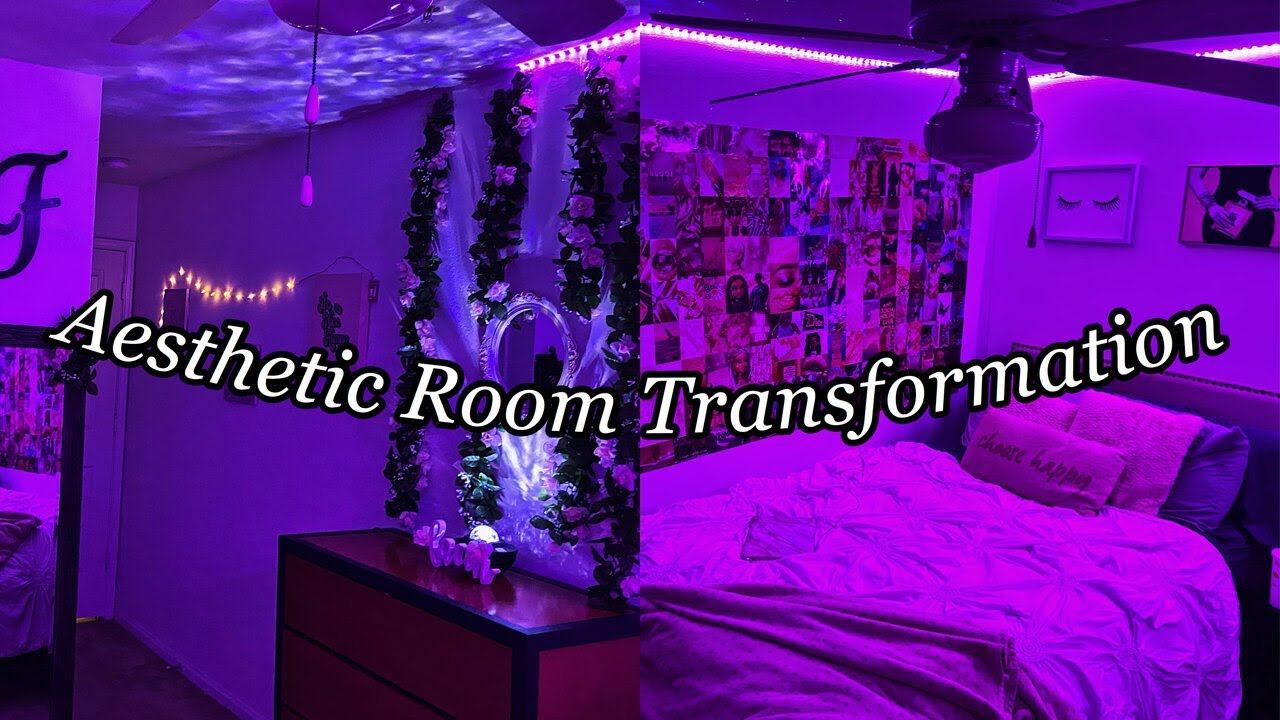 Aesthetic Bedroom Transformation Tiktok Inspired Wall Collage Vine Wall Led Lights Etc Youtube