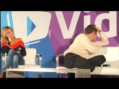Bo Burnham Wildly Uncomfortable While Watching His Own Eighth Grade Trailer | VidCon 2018