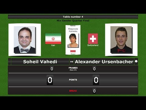 Snooker Mix Gender 1/4 Final : Soheil Vahedi vs Alexander Ursenbacher